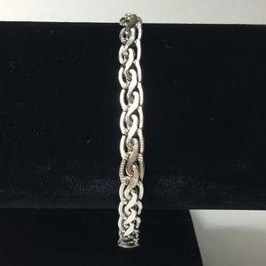 """Unique 2 Level Sterling Silver Bracelet 7.5"""" EUC"""